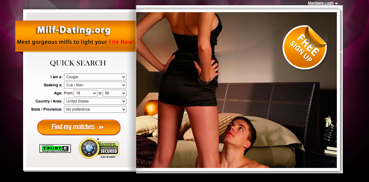 MILF-Dating.org main page