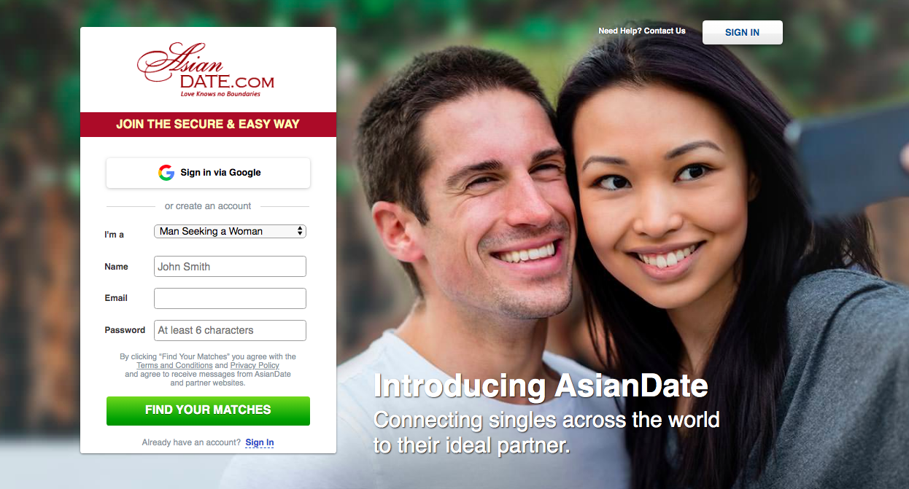 main page AsianDate.com