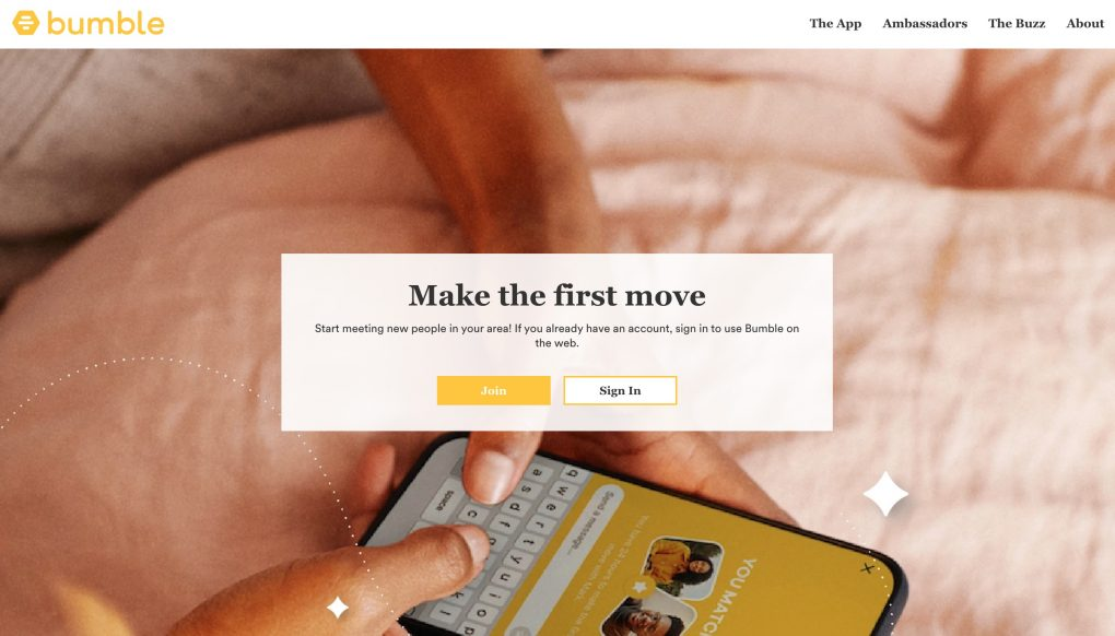 Bumble app page